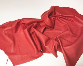 Approx. 5 sq/ft Red Leather Cowhide Scrap cow hide Scraps Remnants