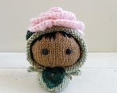 Baby Doll, Rose Baby Bellflower, Knit Amigurumi Doll, Crochet Flower - Garden Party Collection