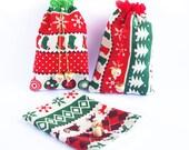 Christmas Cotton Gift bag, Holiday Fabric Pouch, Xmas Goodie, Stocking stuffers, Jewelry Beauty sack, Zero waste, Reusable drawstring bag
