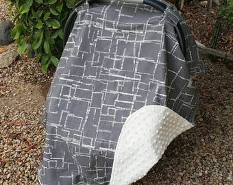 Baby Car Seat Canopy - Baby Car Seat Cover - Grey Car Seat Canopy - Gender Neutral Canopy - Baby Shower Gift  - Grey Cream Modern Canopy
