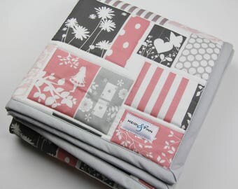 baby quilt, blanket, baby bedding ALICE in WONDERLAND PINKS ready to ship only 1 available