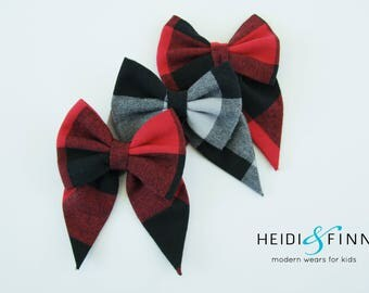 NEW XL Winter flannel Hairbow  Hairclip wool flannel plaid hairband