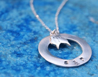 Personalized custom sterling silver necklace with a couple of love birds and a hoop Valentine gift