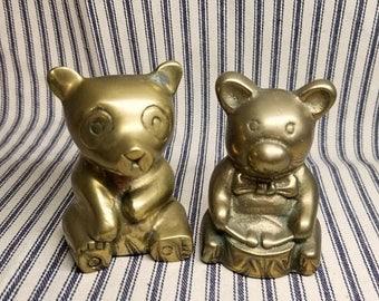 Yearly Big Sale: Vintage Brass Bear Figures, Little Drummer Teddy Bear and Panda Figurine