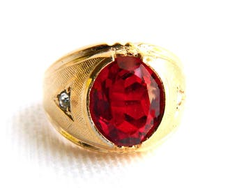 Vintage 18K Gold Plated Ruby Red Glass Mens Ring - Brushed Gold - Mid Century 1950s - July Birthstone - Size 9 - Signed VARGAS