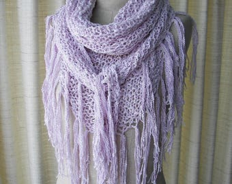 Reserved for chinabell: AMETHYST Hand knit Textured Shawl Triangle Scarf Wrap in COTTON SILK/ pastel color palette shawl