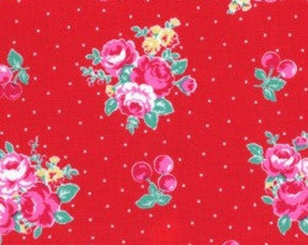 Floral , cherries and dots in red from the Flower Sugar Berry Fall 2017 fabric collection by Lecien of Japan - 31514L-30