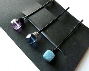 Cube Gemstone Trio Bobby Pin Pack - Blue and Purple - Lavender Amethyst , Blue Flourite, Blue Opal