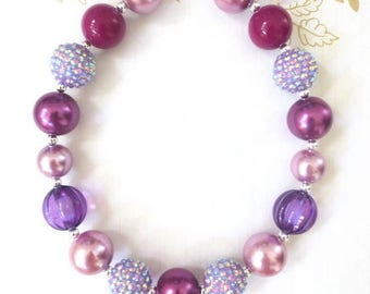 Purple Toddler Necklace, Little Girl Bubblegum Necklace, Children Necklace, Girl Chunky Necklace, Purple Baby Necklace, Baby Chunky Necklace