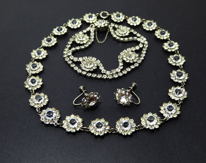 Sterling & Crystal Rhinestones Set - Necklace, Earrings and Bracelet - Marked Stering Silver - Brides Wedding Jewelry - Prom Flowers Style