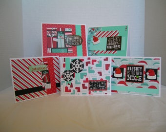 Christmas Card Assortment, Holiday Greeting Cards, Set of 5 Cards, Holiday Greeting Cards, Teal/Red Christmas Cards