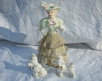 Vintage Antique Lacy Lady with 2 Dogs Poodles Arnart Creation Japan
