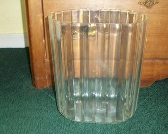 Vintage Adorable Clear Plastic Smaller Sized Wastebasket Trash Can Scalloped Design