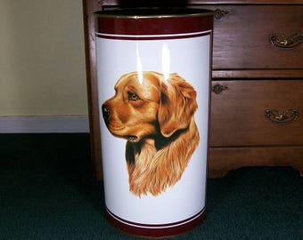Vintage Round Shaped Tall Heavy Duty 1982 Beautiful Golden Retreiver Wastebasket Trash Can Umbrella Cane Holder Cruwys P & K Products Co.