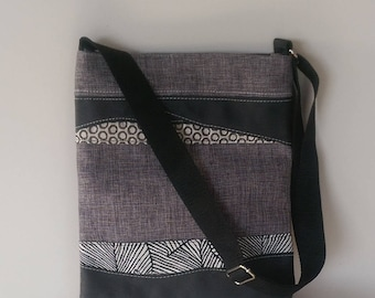 SALE Tote Large Grey Multi with Black Leather