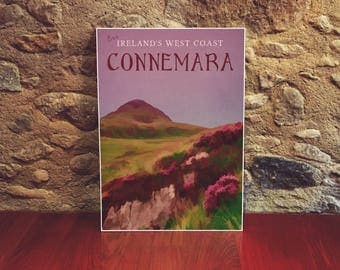 Irish Country 12x18 Poster Art Print Connemara West Coast Purple Wall Art Floral Print Romantic Flower Art Landscape Art