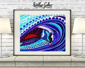 Hawaii Surfer Guy Art Print Poster of Painting by Heather Galler Surfing Surfboard Beach Surf Art Honolulu Waikiki Beach