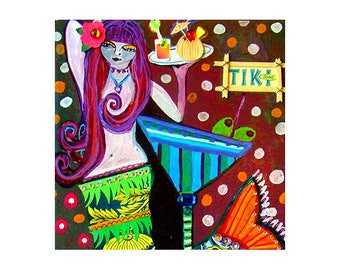 Mermaid art Tile Ceramic Coaster Mexican Folk Art Print of painting by Heather Galler dog