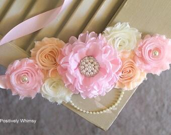 Pink Peach Maternity Sash, Girl Maternity Sash, RTS, Pregnancy Sash, Flower Sash, Belly Sash, Maternity Belt, Light Pink, Light Peach, Ivory