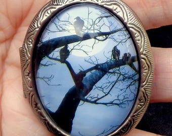 Large Gunmetal Locket Necklace, Gothic Style, Edwardian Fantasy, Evening Sky, Resting Ravins, Gathering Friends,Birds in a Tree,Photo Locket
