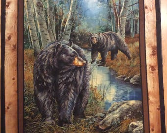 A Wonderful Reluctant Companion Black Bear Fabric Panel Free US Shipping