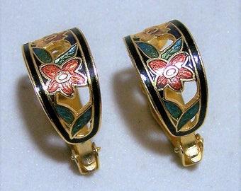 Cloisonne Enamel Floral Half Hoop Earrings, Black Cloisonne Clip On  Earrings, Multi Color Cloisonne Flower Earrings, Vintage Jewelry 217