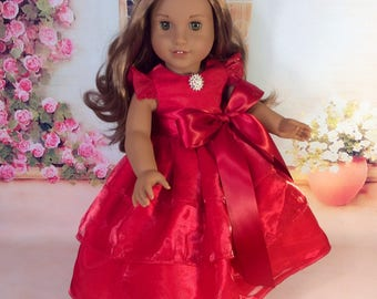 Red Satin Dress for 18inch American Girl Doll