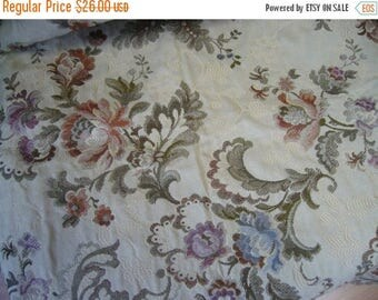 SUMMER SALE Floral Vine Upholstery Fabric, Cotton Damask, Blush/Apricot/Sage/Amethyst/Peach/Blue/Off White