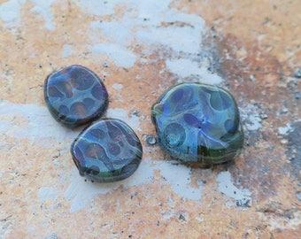 """L'atelier de jacquelina    """" set de 3 perles  organic  en verre filé à la flamme / handmade  3 lampworks  organic   """""""