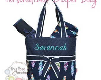 Personalized Diaper Bag, Feather Monogrammed Baby Tote, Changing Pad, Mommy Bag