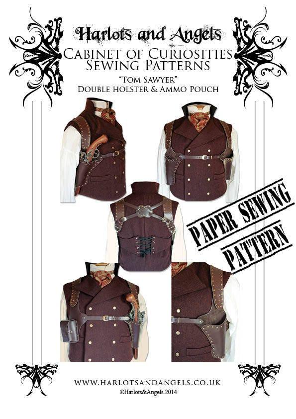 Steampunk Holster Pattern Leather Work Paper Pattern Gun