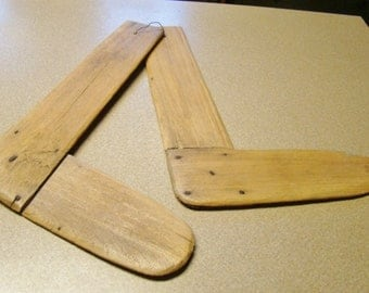 Pair 1800s Crude Wooden Handmade Sock Stretchers Home Made Antique, Primitive Rare Country