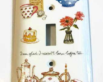 Things for a Tea Party Light Switch Cover, Teapots, Cake, Floral Vase, Tea Tin, Housewarming Gift, Kitchen Accent