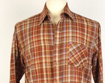 Wedgefield 70s 80s Vintage lightweight brown Plaid Shirt Long Sleeves Button Up Medium