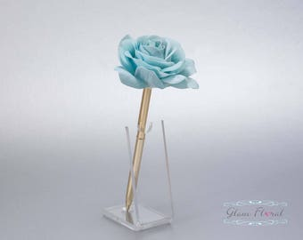 Teal Blue Rose Guestbook Pen. Gold Wedding Pen Set, Wedding Pen Holder, Real Touch Rose Flowers, Aqua, Turquoise. Tea Rose Collection