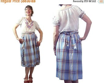 Summer Sale Vintage 1940's Plaid Wrap Skirt