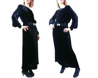 1930s Black Velvet Dress with Rhinestone Buckle
