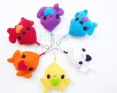 ON SALE - Squid Keychain - Your Choice Color, Animal Keychain, Kawaii Keychain, Felt Animal, Key Ring, Cell Phone Charm, Dust Plug, Stocking