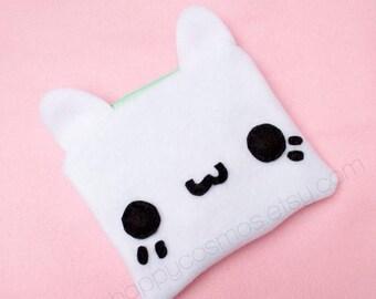 ON SALE - White Cat Zipper Pouch - Pencil Pouch, Pencil Case, School Supplies, Make Up Bag, 3DS Case, Phone Case, Coin Purse