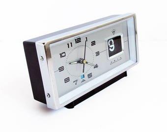 Mid Century Diamond Clock Co. Wind-up Alarm Clock with Flip Number Date