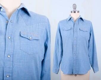 Oscar De La Renta Pearl Snap Shirt 70's Blouse Chambray Light Denim Western Small
