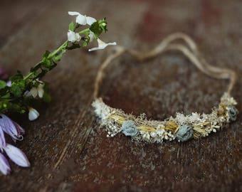 Sage and Wheat halo  tie back Headband