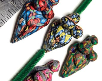 4 Vintage polymer clay goddess pendants by Marie Segal