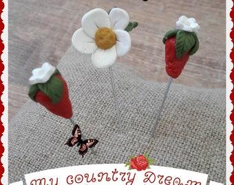 "Handmade ""Strawberry Fields"" polymer clay pins set."