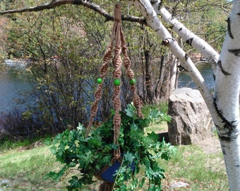 Saranac Macrame Plant Hanger With Spring Green Beads