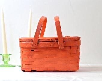 Vintage picnic basket small picnic basket orange picnic basket