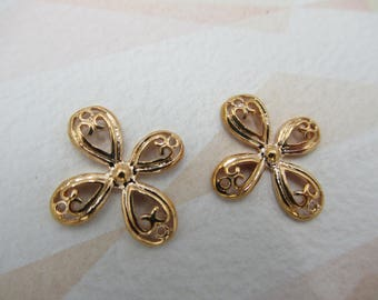 Rose Gold Plated Flower Chandelier Connectors - Flower Charms - Flower Pendants - Filigree Findings - Qty 2 *NEW ITEM*
