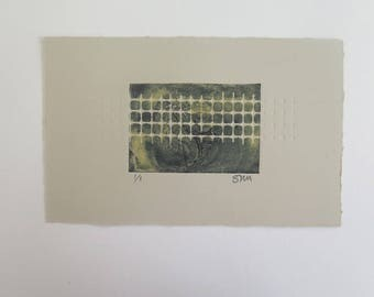 Small original abstract mono print  Collagraph, carborundum,stencil and emboss Oil based ink on Somerset Velvet paper Stef Mitchell