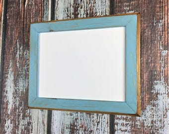 11 x 14 Picture Frame, Baby Blue Rustic Weathered Style With Routed Edges, Rustic Home Decor, Wooden Frames, Rustic Frames, Rustic Wood