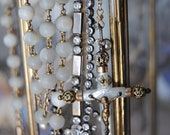 French Rosary Torsade--Antique French Mother Of Pearl Rosary Vintage Pearl Rhinestone Strand Sacred Heart NECKLACE